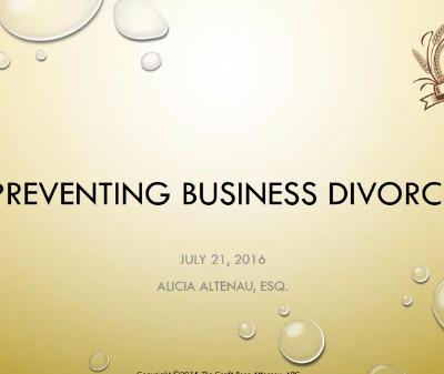 Preventing Business Divorce